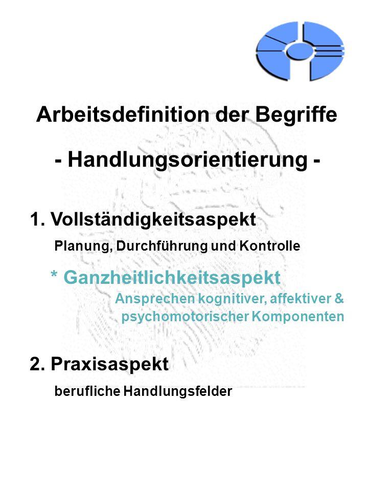 Arbeitsdefinition der Begriffe - Handlungsorientierung -
