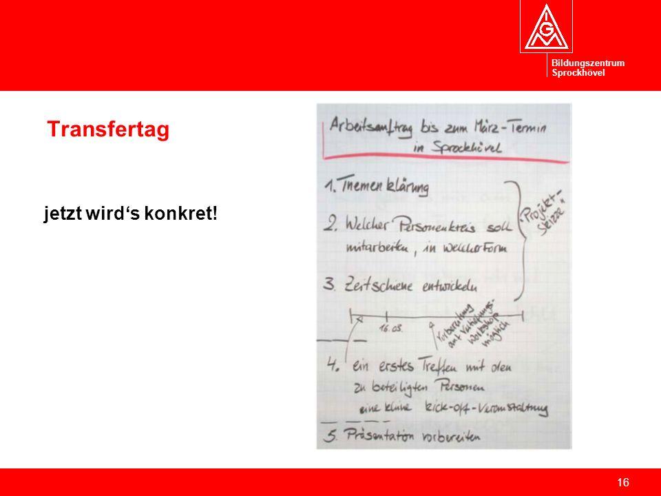 Bildungszentrum Sprockhövel Transfertag jetzt wird's konkret!