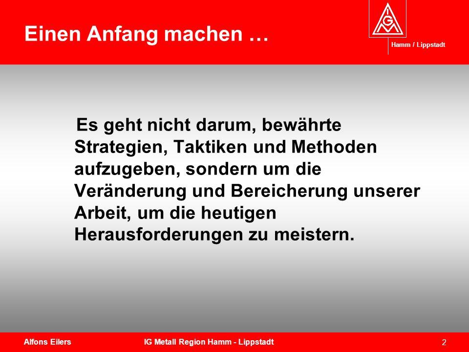 Einen Anfang machen … Hamm / Lippstadt.