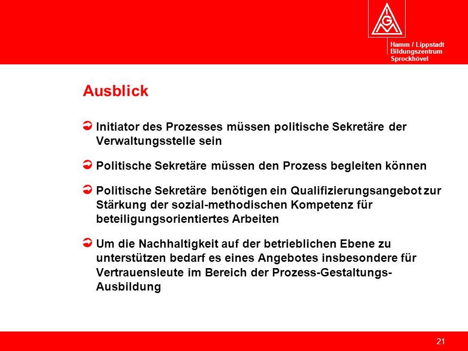Hamm / Lippstadt Bildungszentrum. Sprockhövel. Ausblick. Initiator des Prozesses müssen politische Sekretäre der Verwaltungsstelle sein.