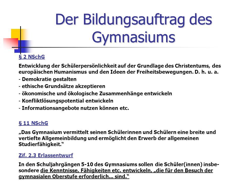 Der Bildungsauftrag des Gymnasiums