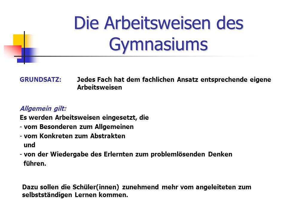 Die Arbeitsweisen des Gymnasiums