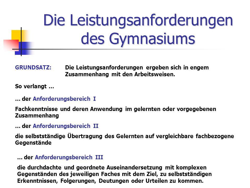 Die Leistungsanforderungen des Gymnasiums