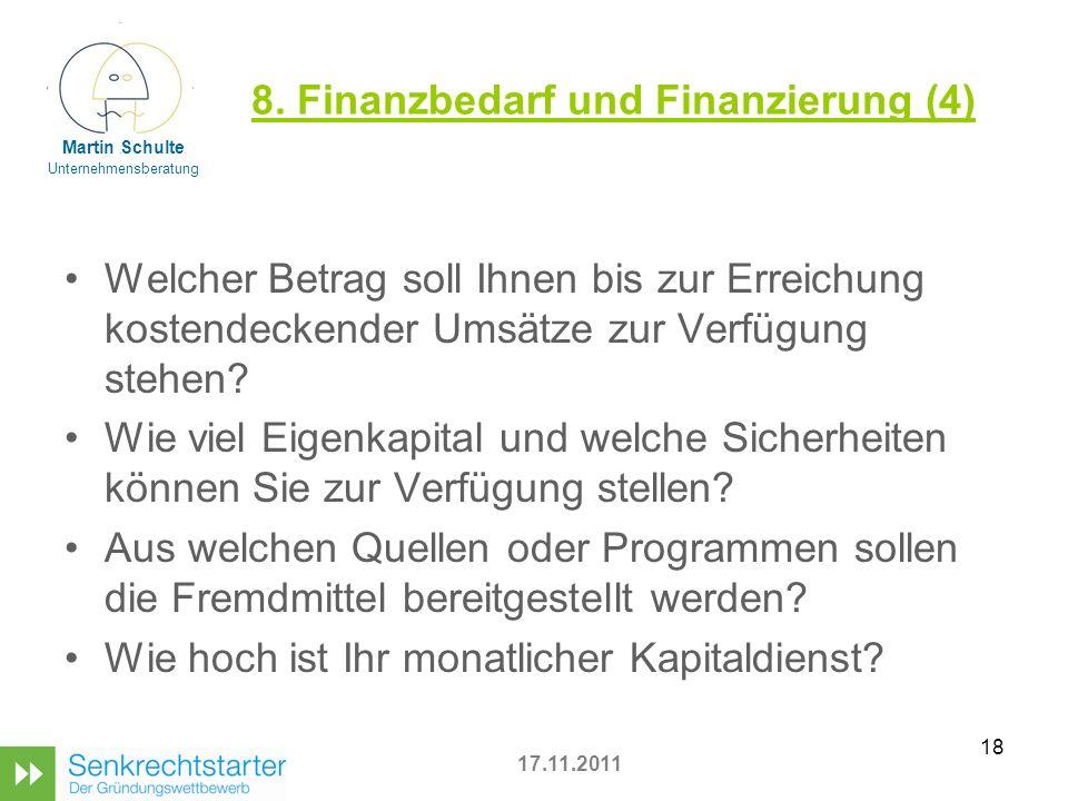 8. Finanzbedarf und Finanzierung (4)