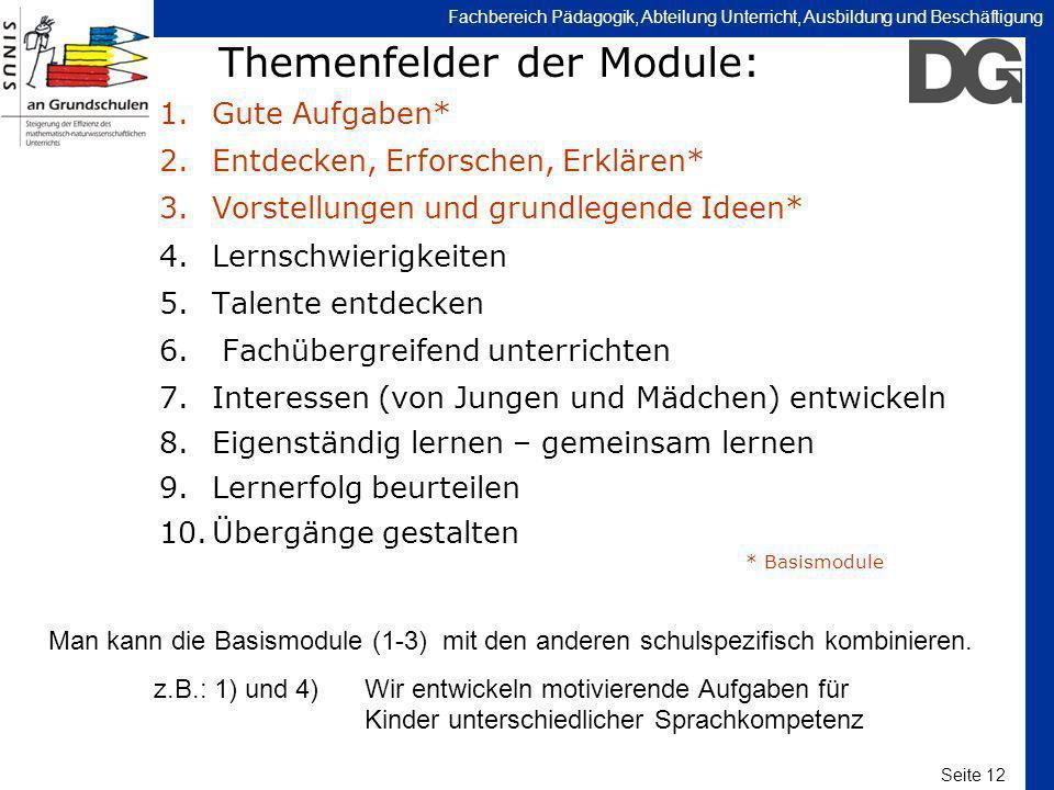 Themenfelder der Module: