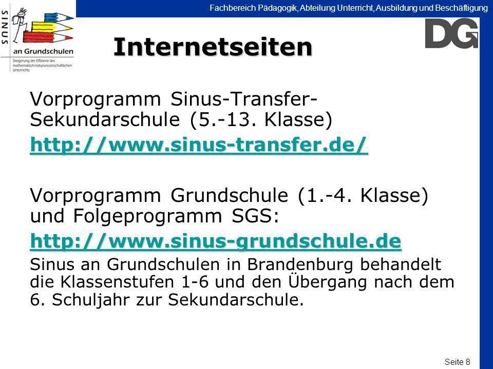Internetseiten Vorprogramm Sinus-Transfer- Sekundarschule (5.-13. Klasse) http://www.sinus-transfer.de/