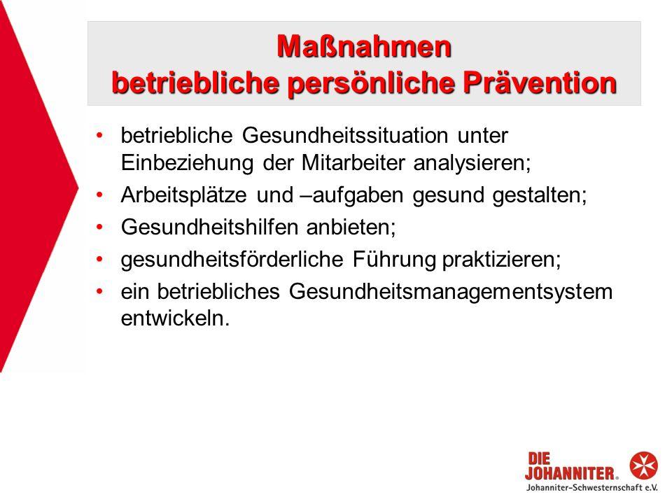 Maßnahmen betriebliche persönliche Prävention