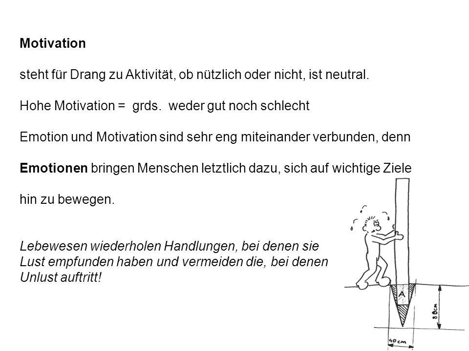 Motivation steht für Drang zu Aktivität, ob nützlich oder nicht, ist neutral. Hohe Motivation = grds. weder gut noch schlecht.