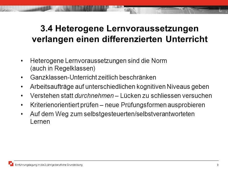 3.4 Heterogene Lernvoraussetzungen verlangen einen differenzierten Unterricht
