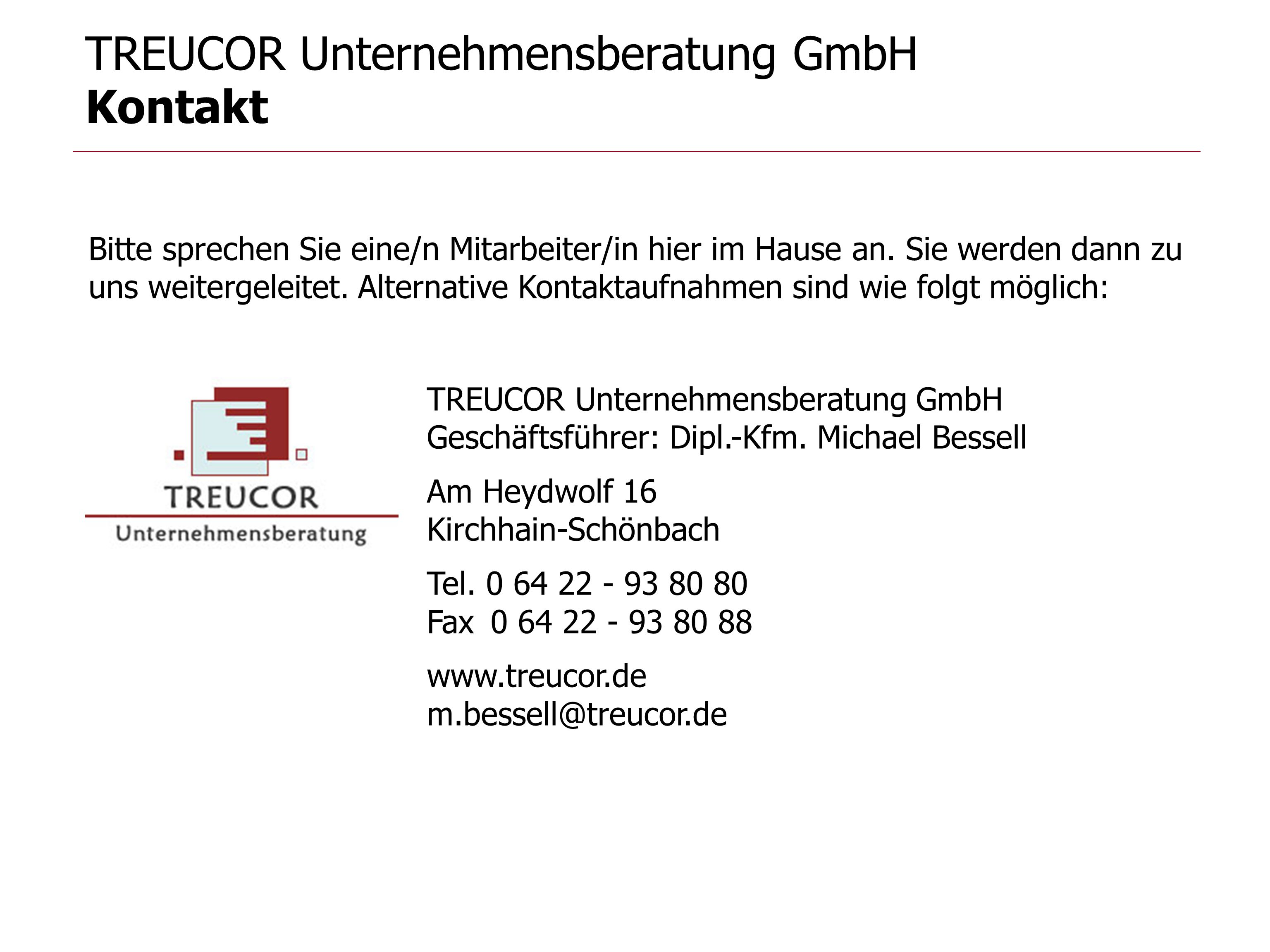 TREUCOR Unternehmensberatung GmbH Kontakt