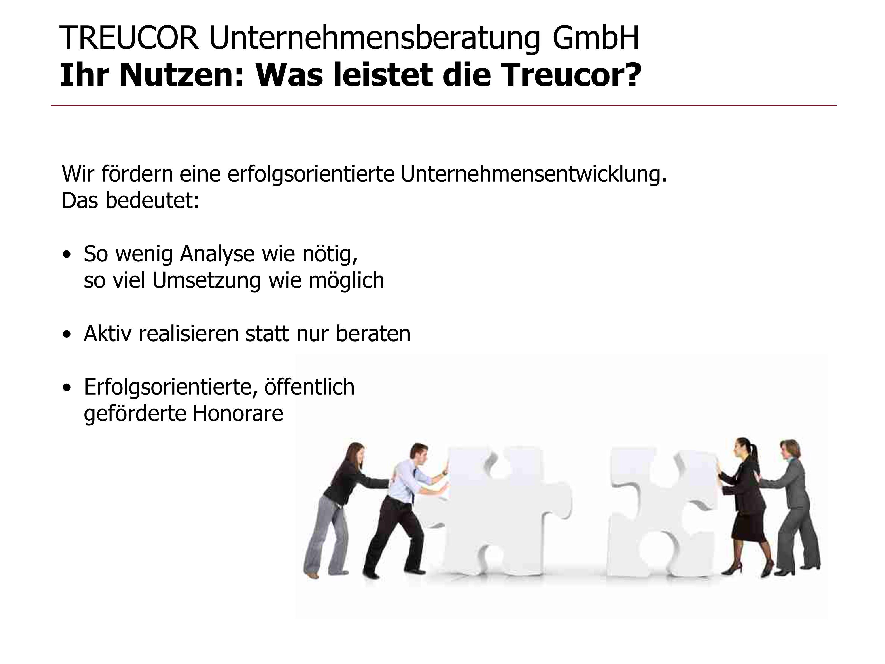 TREUCOR Unternehmensberatung GmbH Ihr Nutzen: Was leistet die Treucor