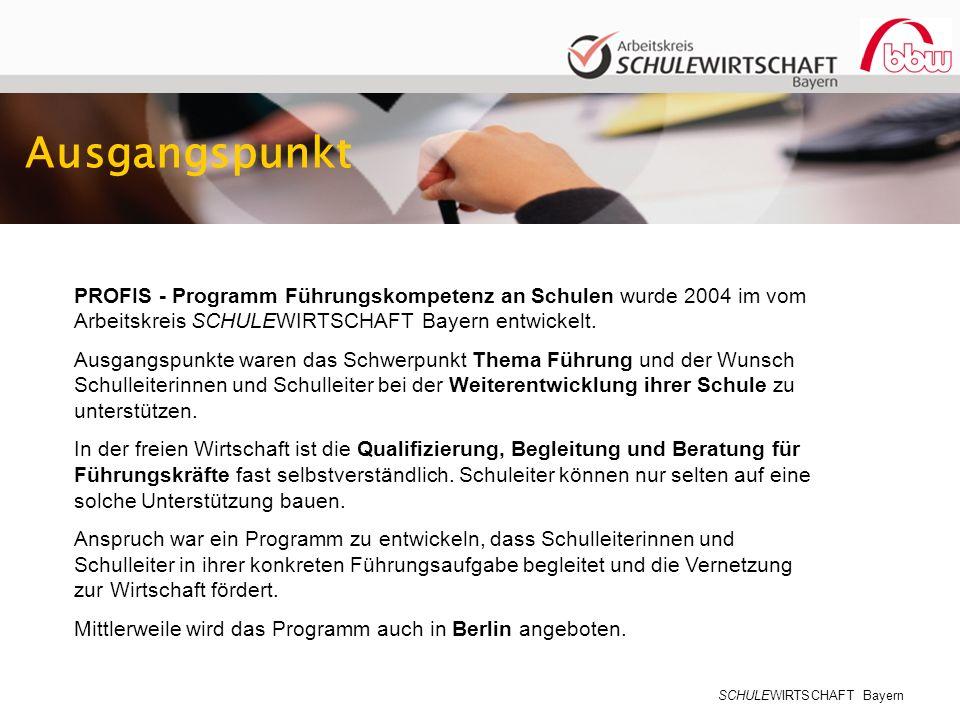 Ausgangspunkt PROFIS - Programm Führungskompetenz an Schulen wurde 2004 im vom Arbeitskreis SCHULEWIRTSCHAFT Bayern entwickelt.