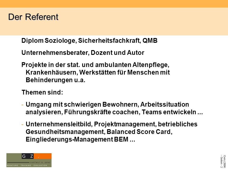 Der Referent Diplom Soziologe, Sicherheitsfachkraft, QMB