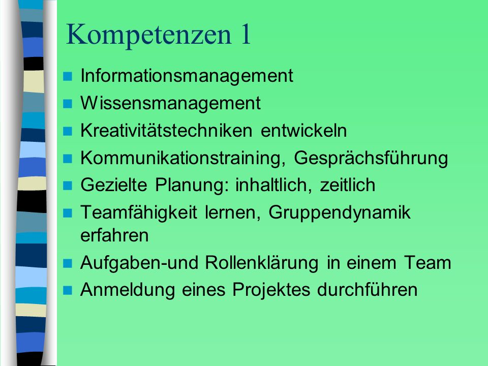 Kompetenzen 1 Informationsmanagement Wissensmanagement