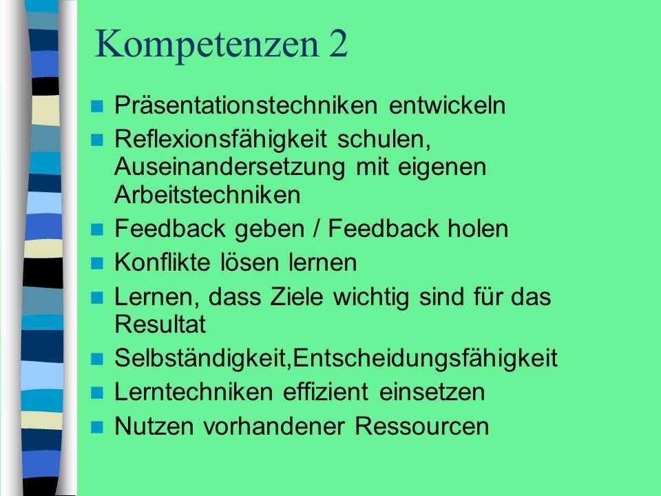 Kompetenzen 2 Präsentationstechniken entwickeln