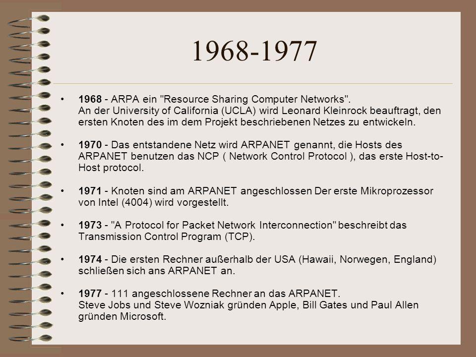 1968-1977 1968 - ARPA ein Resource Sharing Computer Networks .