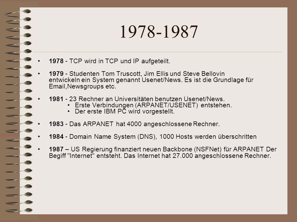 1978-1987 1978 - TCP wird in TCP und IP aufgeteilt.