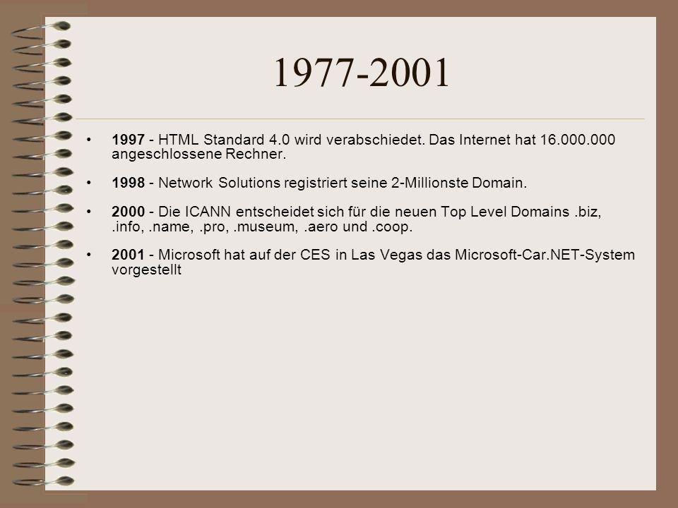 1977-2001 1997 - HTML Standard 4.0 wird verabschiedet. Das Internet hat 16.000.000 angeschlossene Rechner.