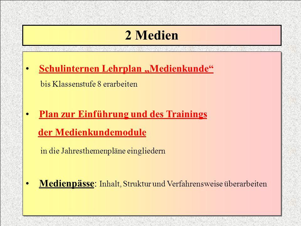"""2 Medien Schulinternen Lehrplan """"Medienkunde"""
