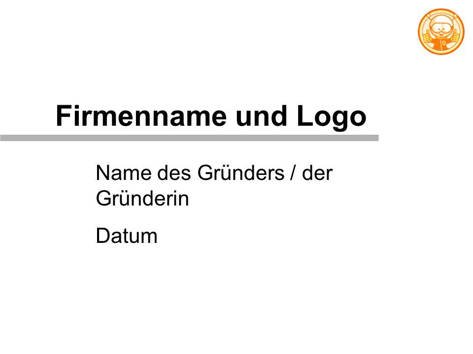 Firmenname und Logo Name des Gründers / der Gründerin Datum