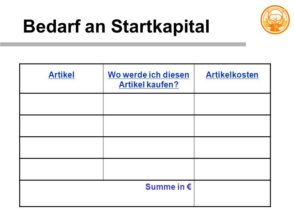 Bedarf an Startkapital