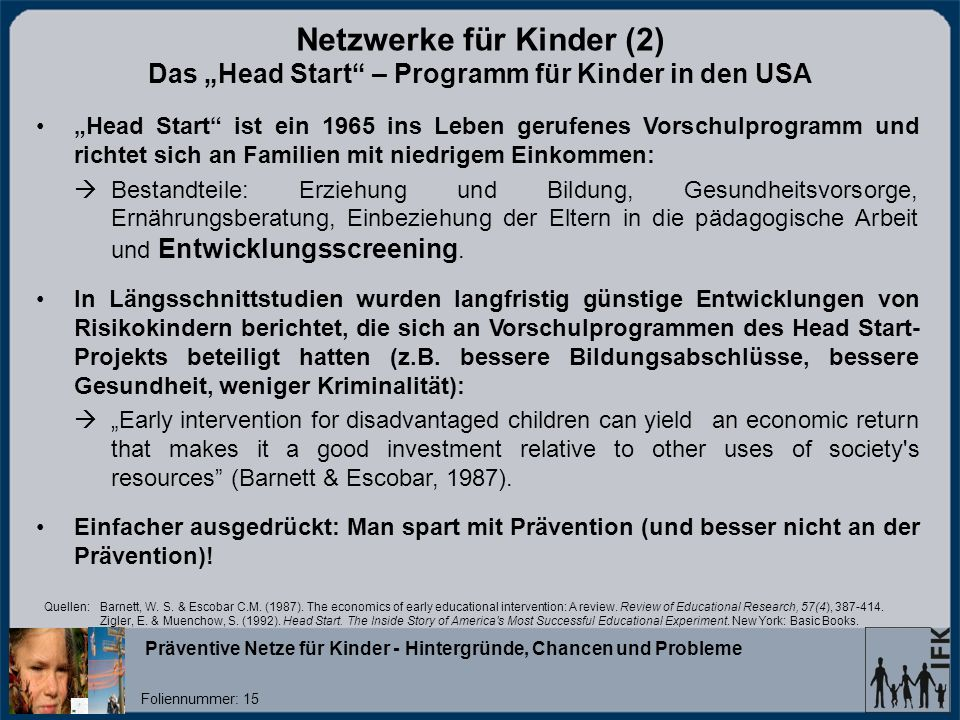 """Netzwerke für Kinder (2) Das """"Head Start – Programm für Kinder in den USA"""