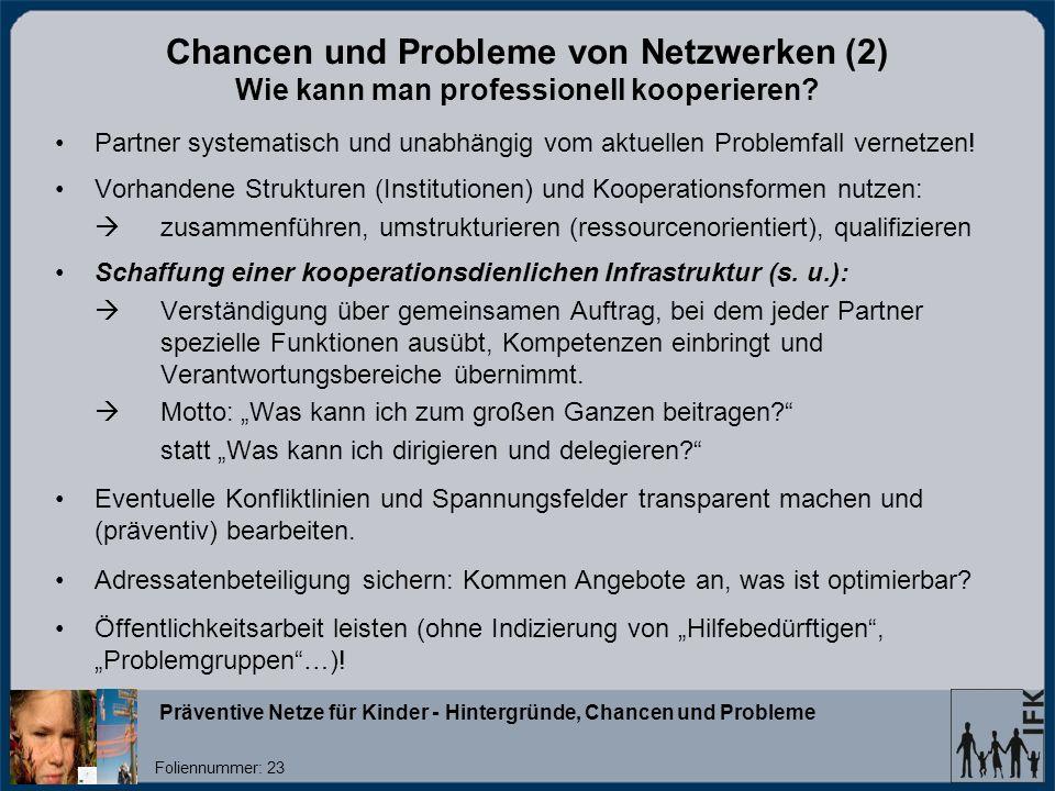 Chancen und Probleme von Netzwerken (2) Wie kann man professionell kooperieren