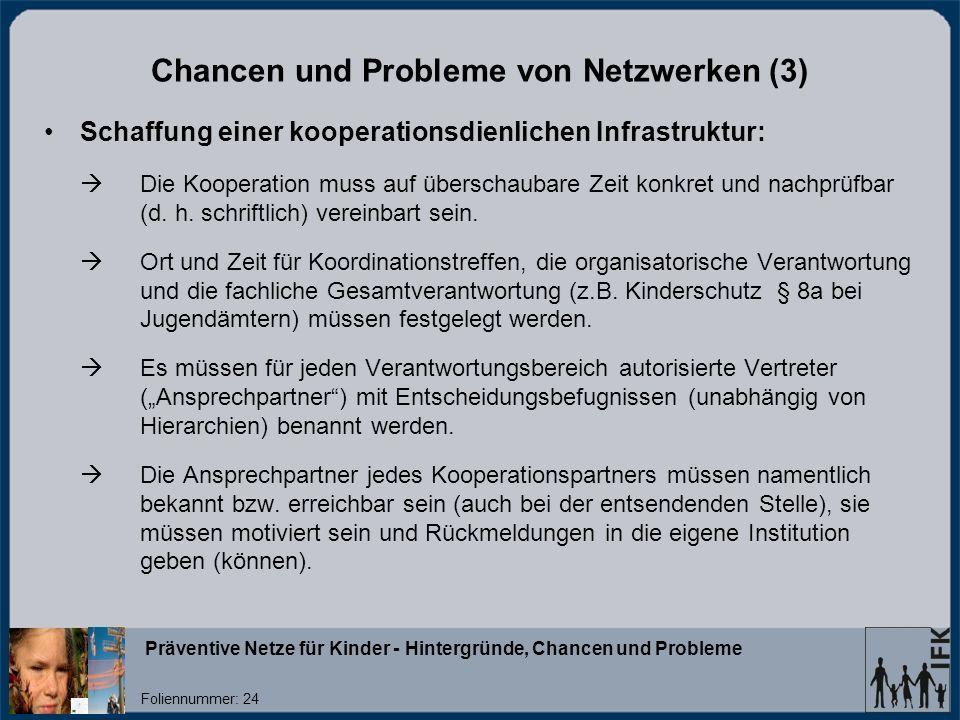 Chancen und Probleme von Netzwerken (3)