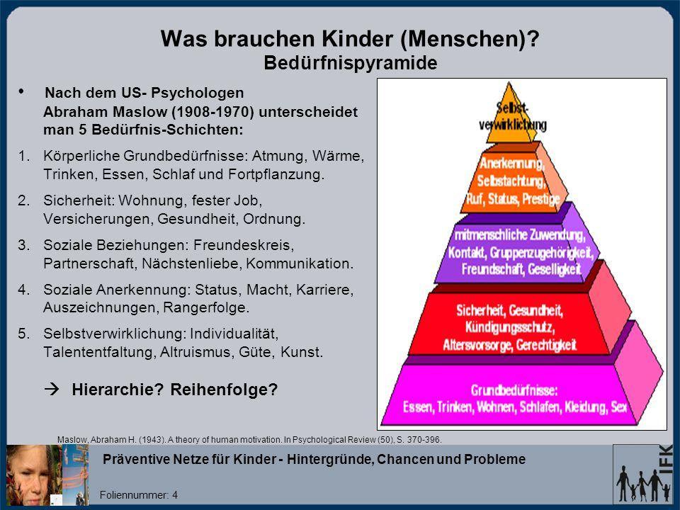 Was brauchen Kinder (Menschen) Bedürfnispyramide