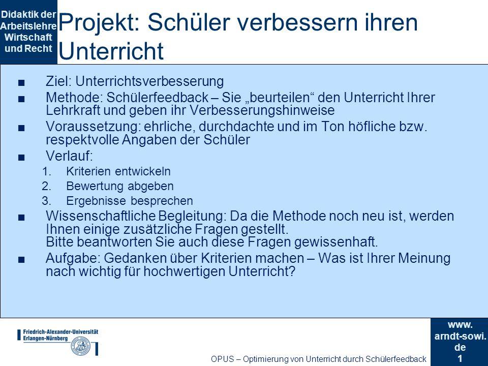 Projekt: Schüler verbessern ihren Unterricht