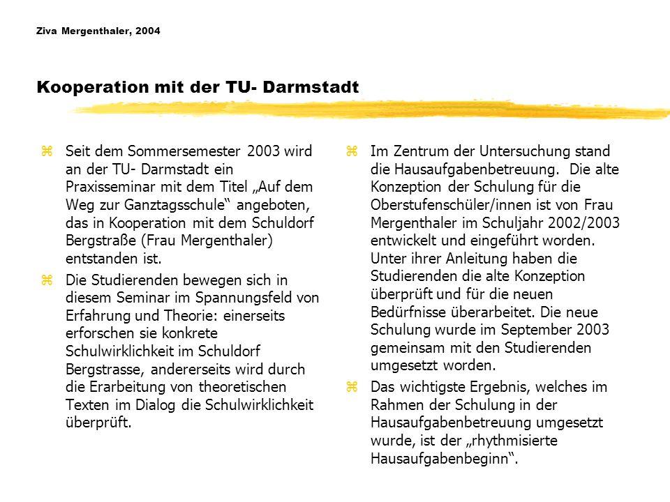 Ziva Mergenthaler, 2004 Kooperation mit der TU- Darmstadt
