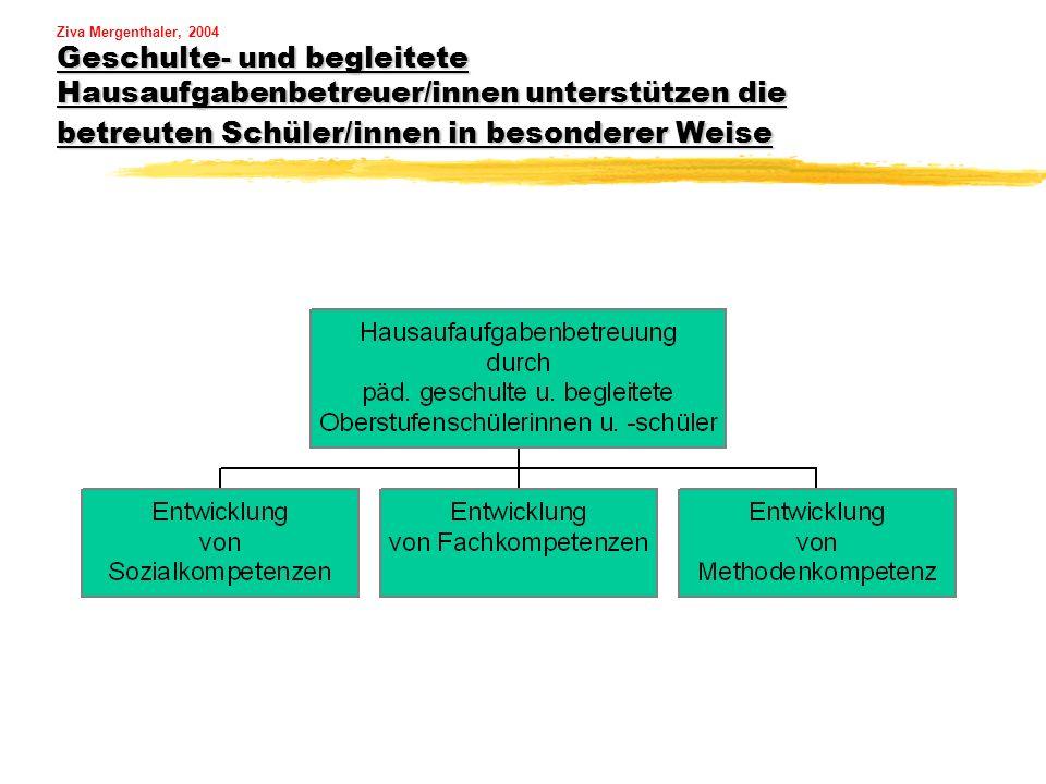 Ziva Mergenthaler, 2004 Geschulte- und begleitete Hausaufgabenbetreuer/innen unterstützen die betreuten Schüler/innen in besonderer Weise