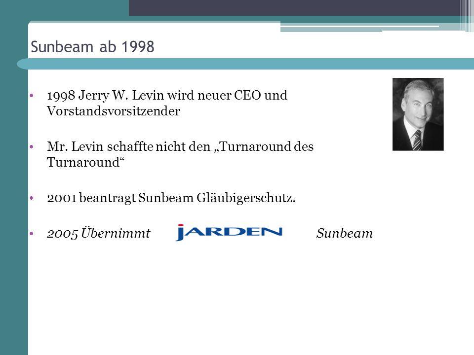 """Sunbeam ab 1998 1998 Jerry W. Levin wird neuer CEO und Vorstandsvorsitzender. Mr. Levin schaffte nicht den """"Turnaround des Turnaround"""