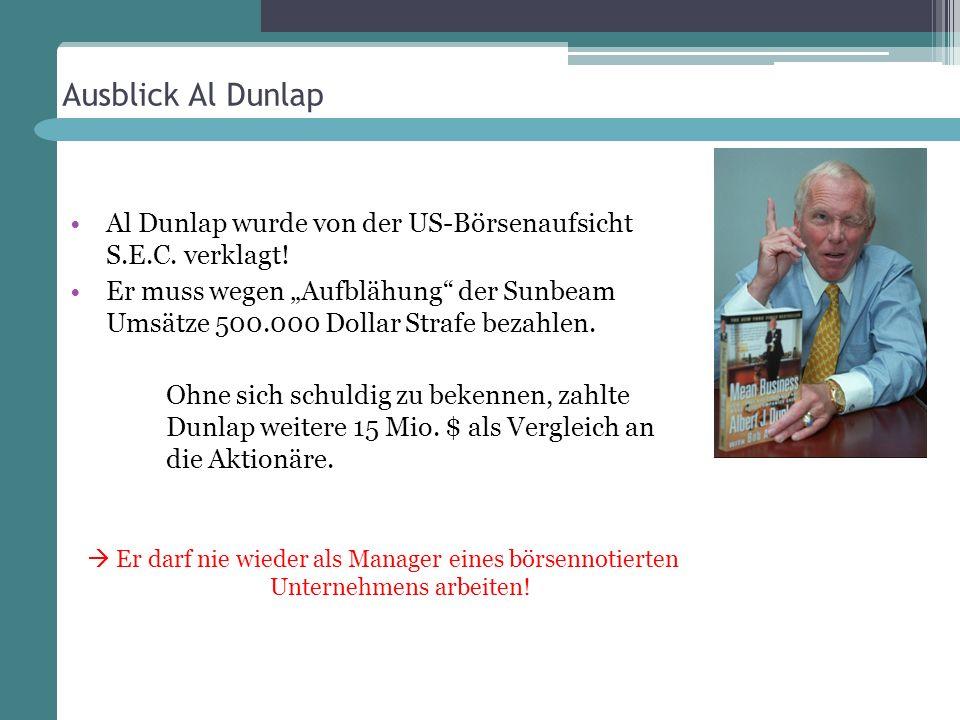 Ausblick Al Dunlap Al Dunlap wurde von der US-Börsenaufsicht S.E.C. verklagt!