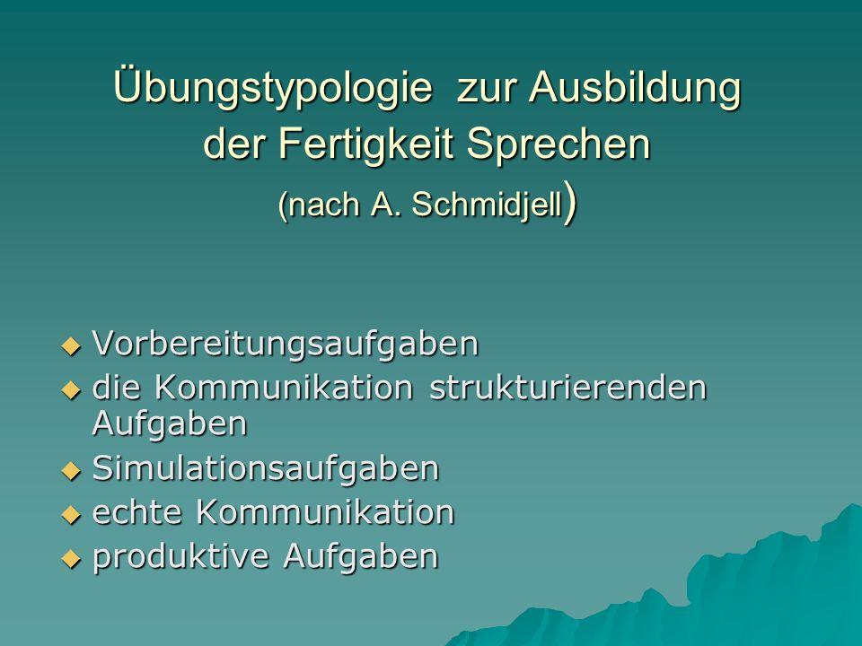 Übungstypologie zur Ausbildung der Fertigkeit Sprechen (nach A