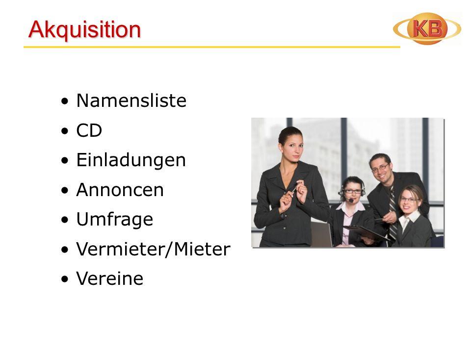 Akquisition Namensliste CD Einladungen Annoncen Umfrage