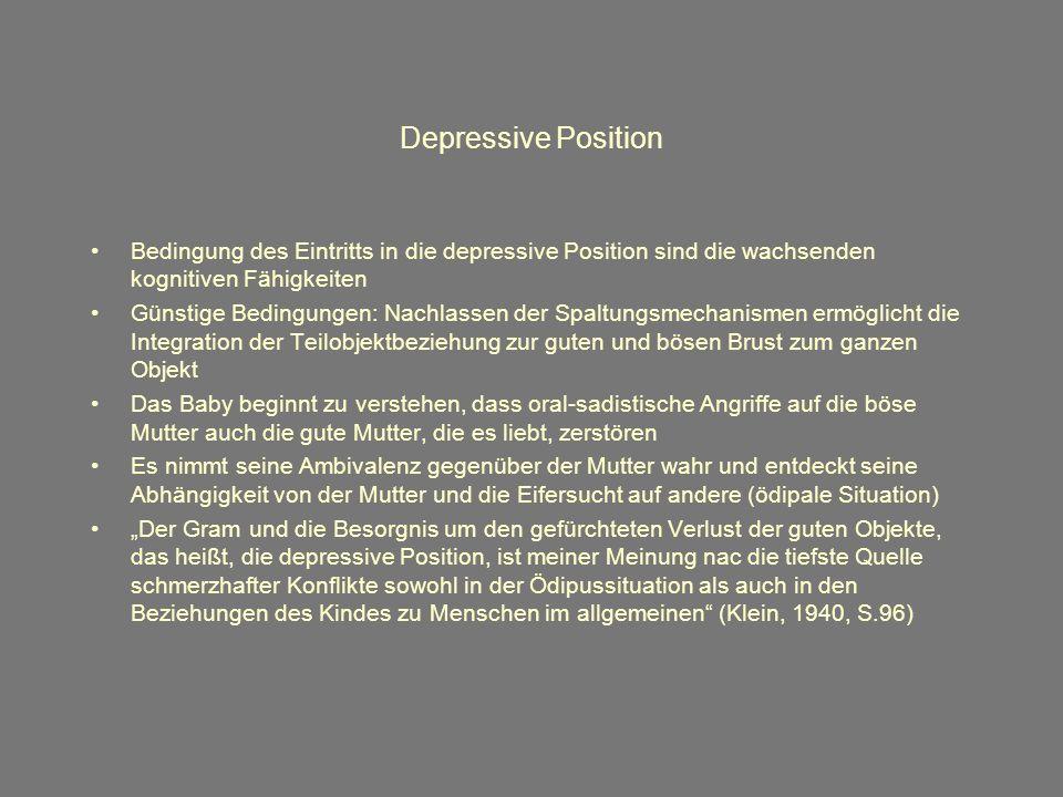 Depressive Position Bedingung des Eintritts in die depressive Position sind die wachsenden kognitiven Fähigkeiten.