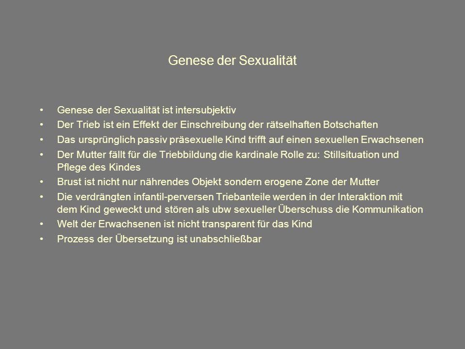 Genese der Sexualität Genese der Sexualität ist intersubjektiv