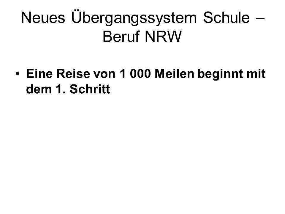 Neues Übergangssystem Schule – Beruf NRW