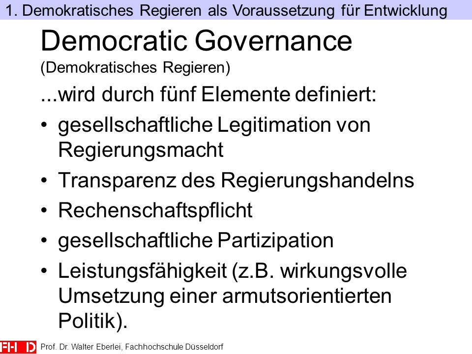 Democratic Governance (Demokratisches Regieren)