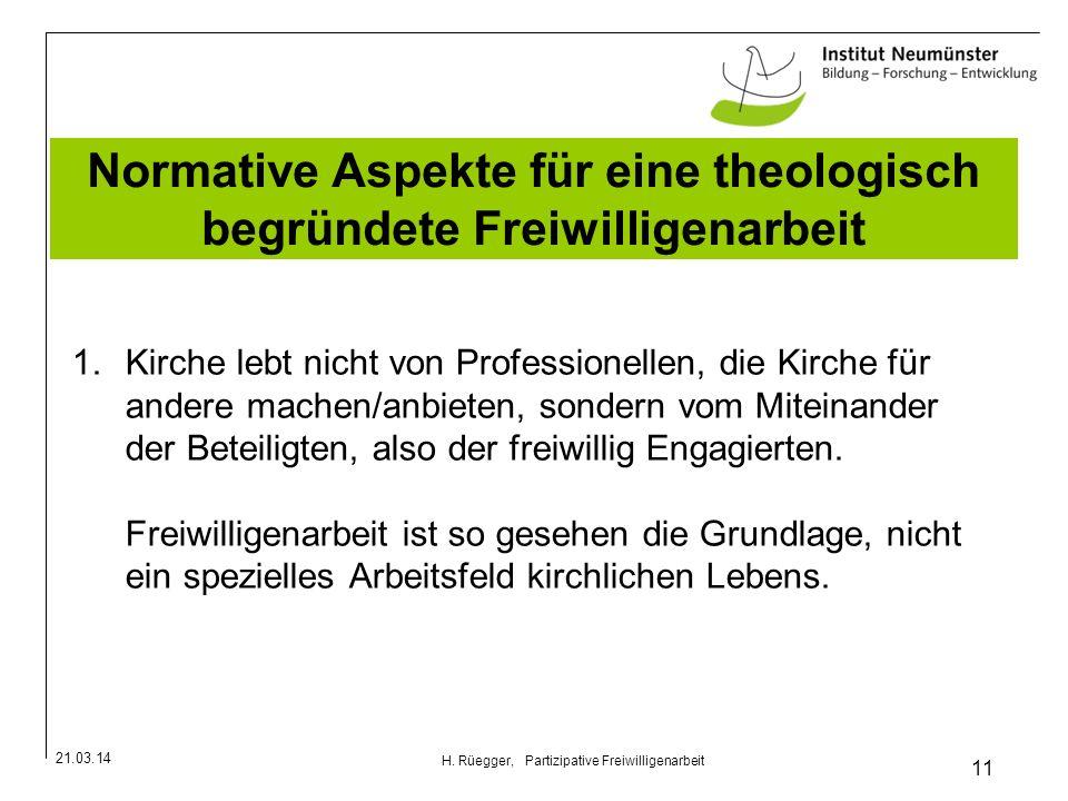Normative Aspekte für eine theologisch begründete Freiwilligenarbeit