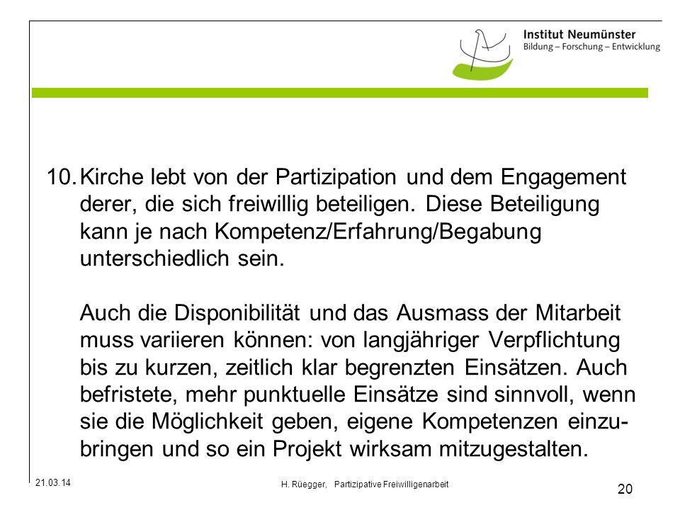 H. Rüegger, Partizipative Freiwilligenarbeit