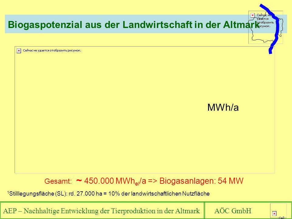 Biogaspotenzial aus der Landwirtschaft in der Altmark