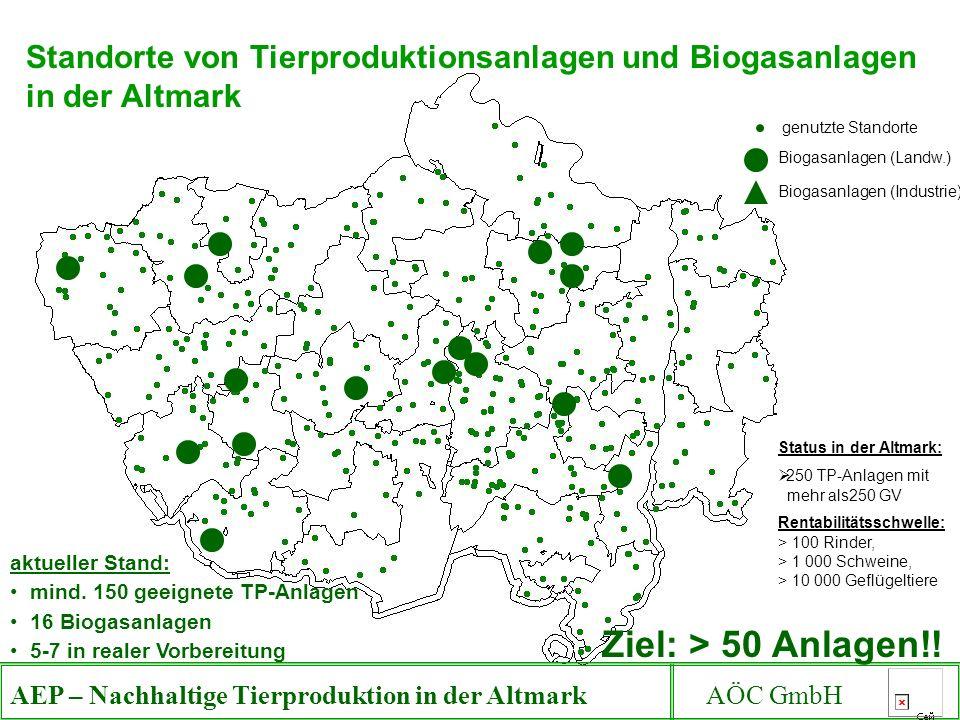 Standorte von Tierproduktionsanlagen und Biogasanlagen in der Altmark