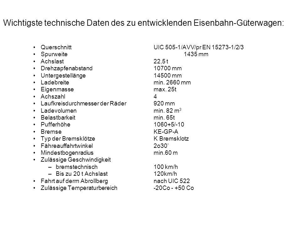 Wichtigste technische Daten des zu entwicklenden Eisenbahn-Güterwagen: