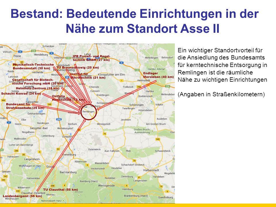 Bestand: Bedeutende Einrichtungen in der Nähe zum Standort Asse II