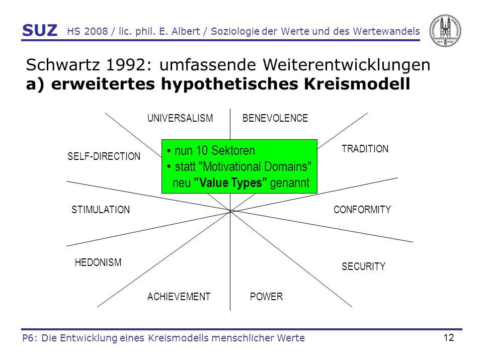 Schwartz 1992: umfassende Weiterentwicklungen