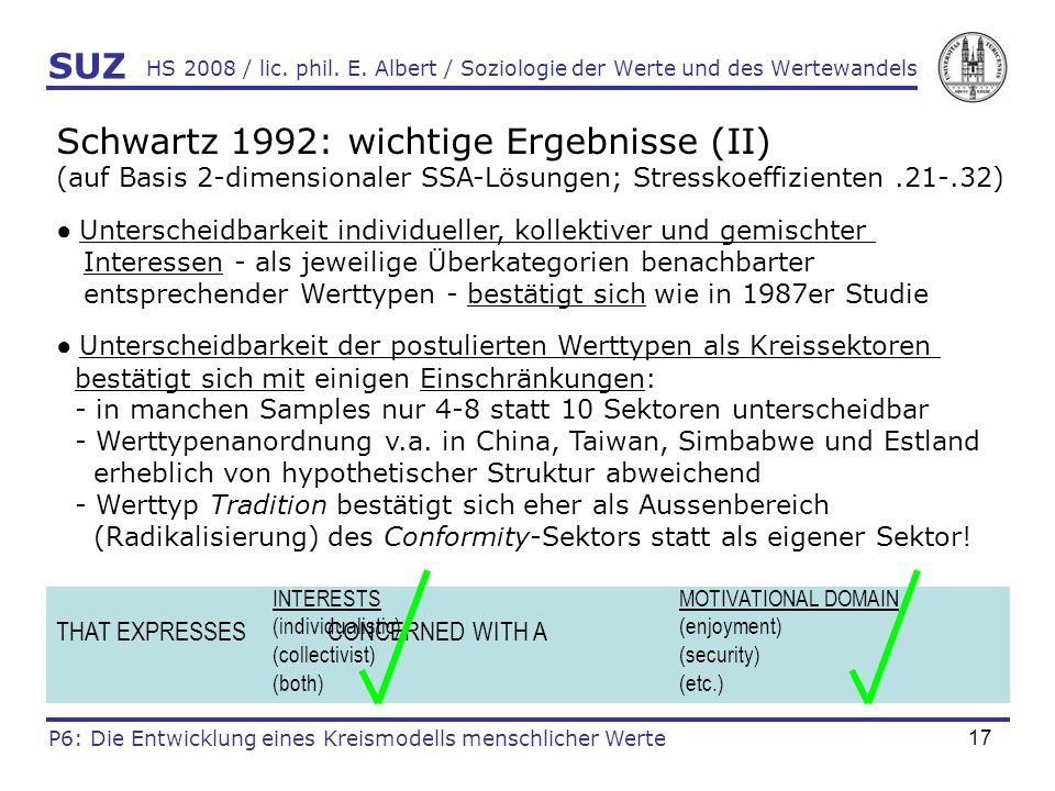 Schwartz 1992: wichtige Ergebnisse (II)