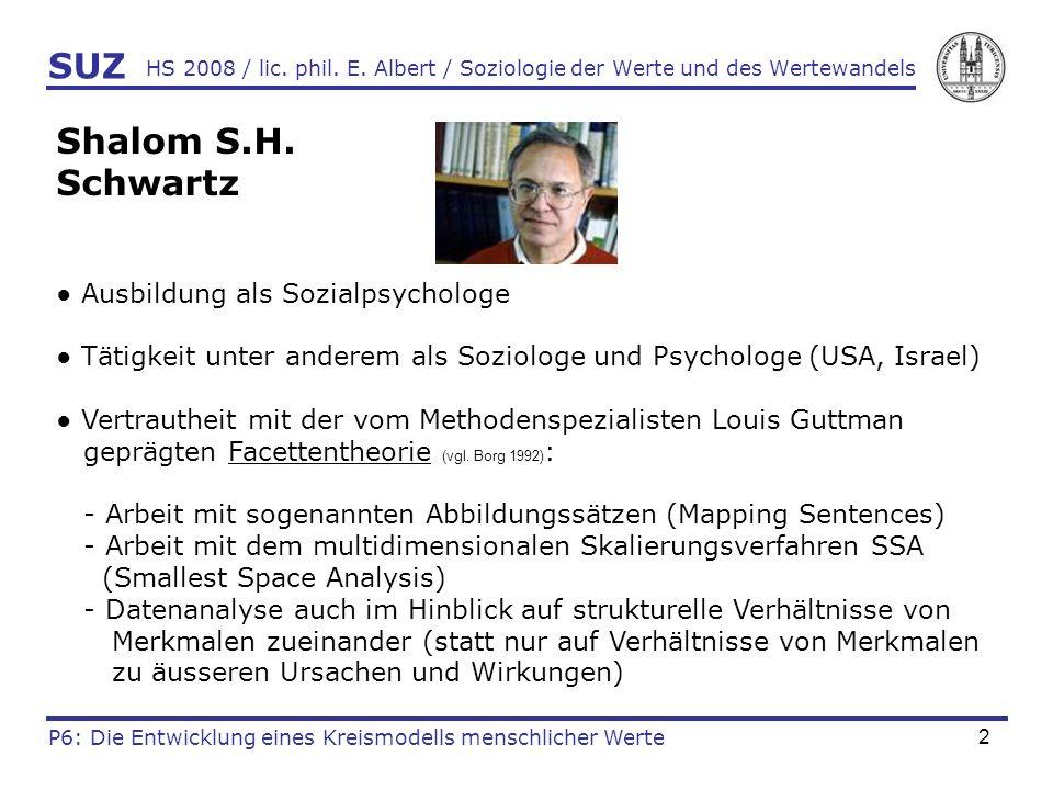 SUZ Shalom S.H. Schwartz ● Ausbildung als Sozialpsychologe