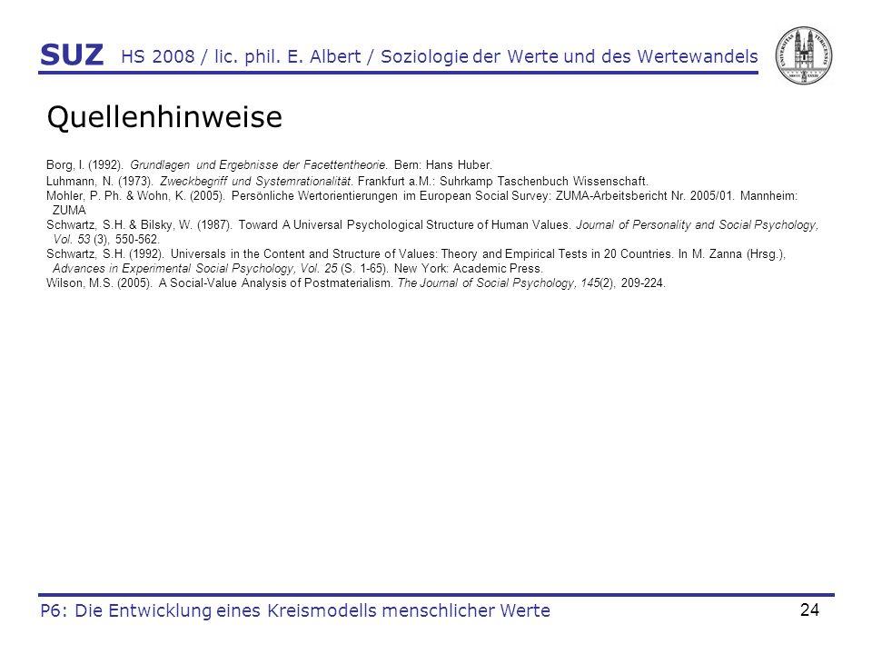 SUZ HS 2008 / lic. phil. E. Albert / Soziologie der Werte und des Wertewandels. Quellenhinweise.
